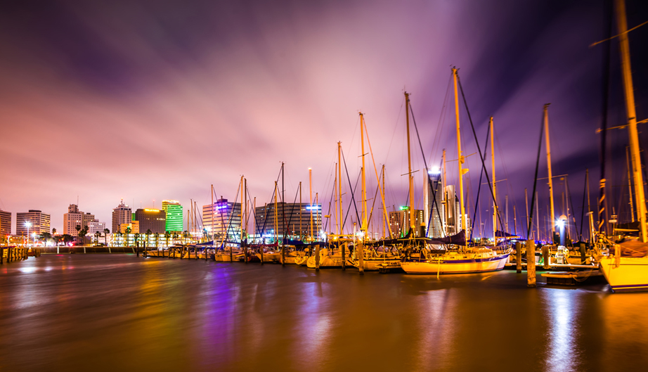 many Night scenes around corpus christi texas